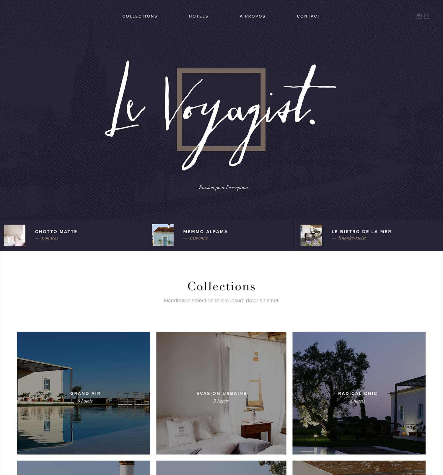 Overview of Le Voyagist's website - Reed